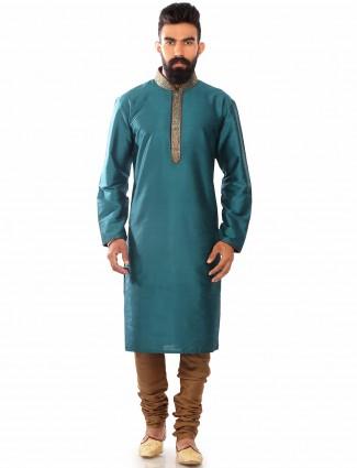 Dupion silk blue wedding wear plain Kurta Suit