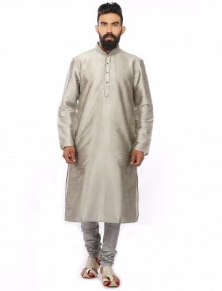 Dupion silk grey plain festive wear Mens Kurta Suit