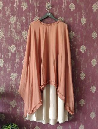 Dusky Pink Cape Top and Cream Kurti dress