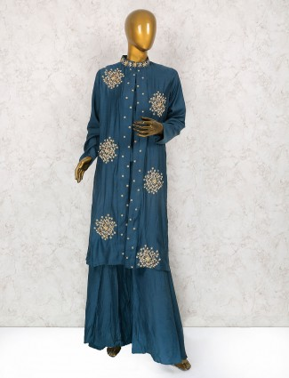 Dusty blue cotton silk palazzo suit