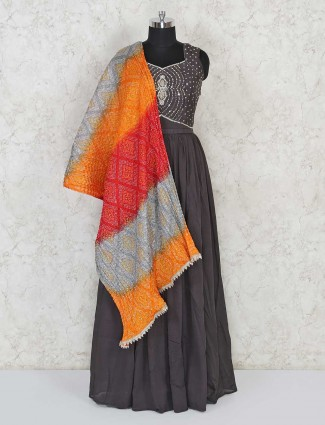 Dusty grey cotton Anarkali salwar kameez for festivals