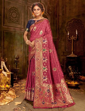 Dusty pink banarasi silk saree for weddings