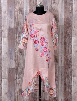 Dusty pink color cotton silk kurti