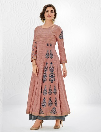 Dusty pink color cotton silk palazzo  suit