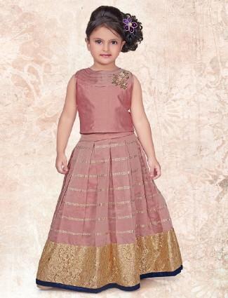 Dusty pink color silk choli suit