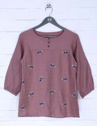 Dusty pink cotton fabric casual top