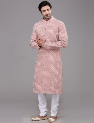 Dusty pink cotton festive wear chikan kurta suit