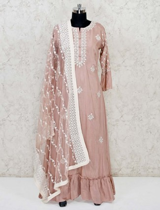 Dusty pink cotton silk designer embroidery anarkali suit