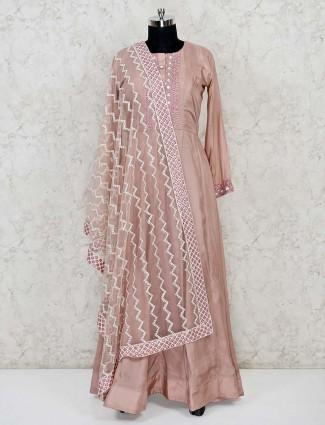 Dusty pink cotton silk festive wear anarkali suit