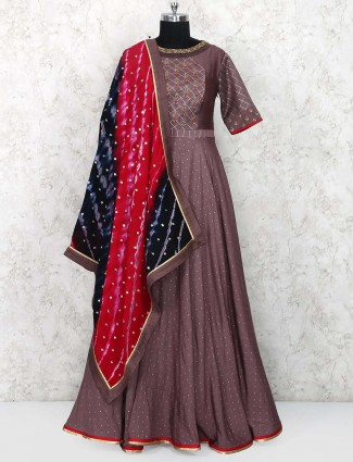 Dusty pink cotton silk floor length pretty anarkali suit