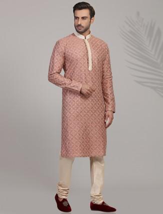 Dusty pink cotton silk half buttoned placket kurta suit