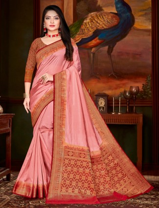 Dusty Pink cotton silk saree for festivals