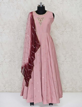 Dusty pink cotton wedding wear anarkali suit