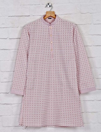 Dusty pink exclusive cotton kurta suit