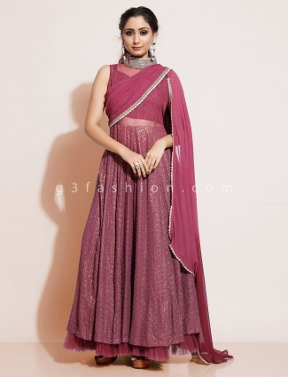Dusty pink georgette party wear designer salwar suit