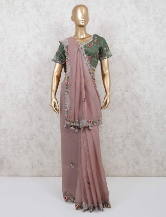 Dusty pink georgette saree with readymade blouse