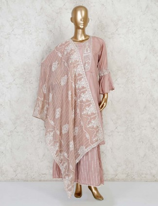 Dusty pink palazzo salwar kameez in cotton silk