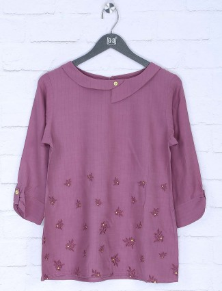 Dusty pink pretty casual top in cotton