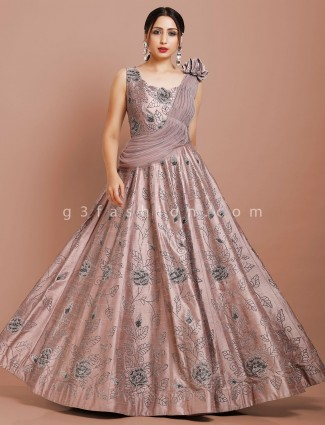 Dusty pink raw silk fabric floor length gown