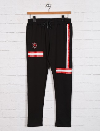 Dxi black cotton stripe track pant