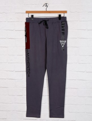 Dxi grey solid cotton track pant