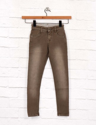 EBONY brown washed skinny fit jeans