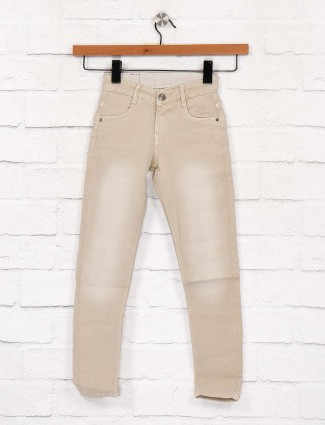 EBONY cream washed denim casual jeans