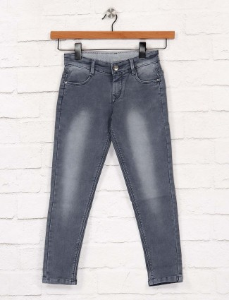EBONY dark grey color solid jeans
