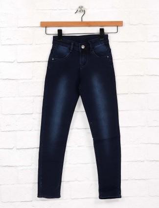 EBONY navy color denim solid jeans