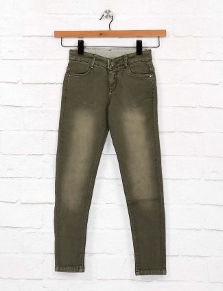 EBONY washed olive denim fabric jeans