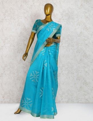 Elegant aqua cotton silk saree