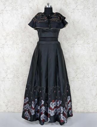Elegant black lehenga choli in satin silk