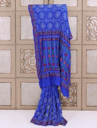 Elegant blue bandhej saree