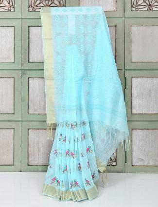 Elegant blue color festive saree