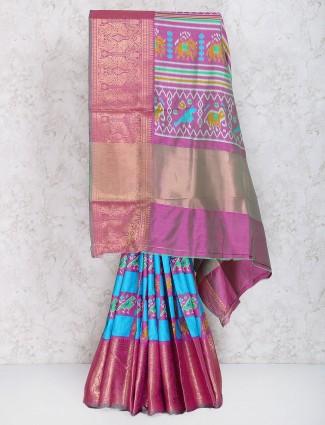 Elegant blue cotton silk fabric festive wear saree
