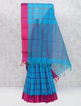 Elegant blue cotton silk festive wear saree