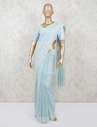 Elegant blue georgette saree