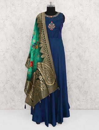 Elegant blue hue cotton silk floor length anarkali suit