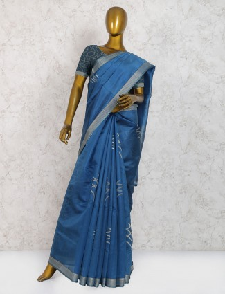 Elegant blue pure silk festive wear saree
