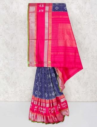 Elegant blue wedding function silk saree