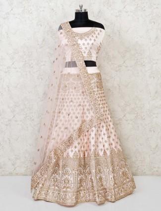 Elegant cream semi stitched lehenga choli for bridal
