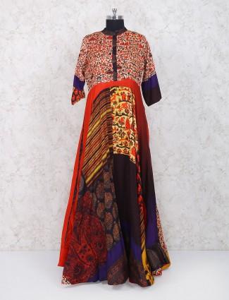 Elegant orange cotton fabric printed kurti
