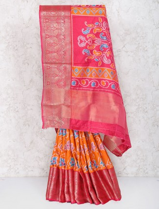 Elegant orange hue cotton silk saree