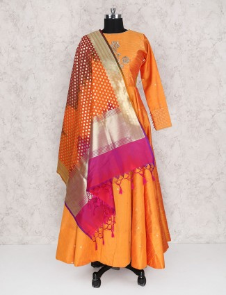 Elegant orange raw silk floor length anarkali suit