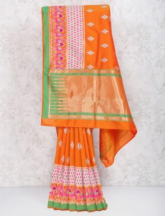 Elegant orange semi silk festive saree
