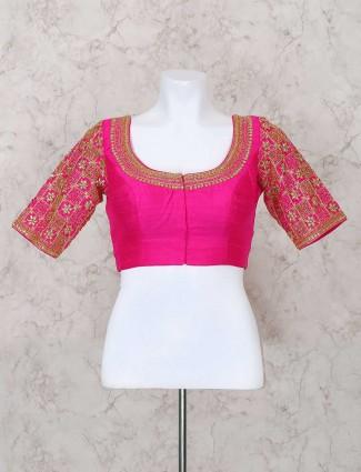 Elegant raw silk fabric ready made blouse piece