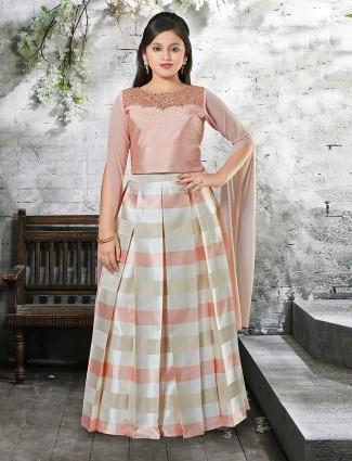 Elegant peach silk lehenga choli