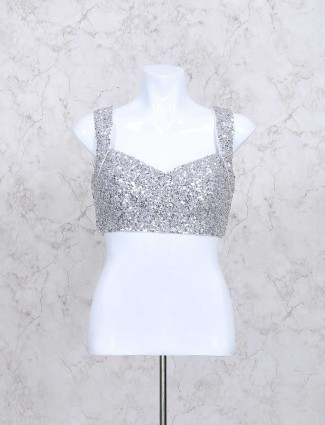 Elegant silver silk fabric ready made blouse