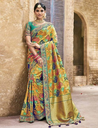 Elegant yellow banarasi silk saree