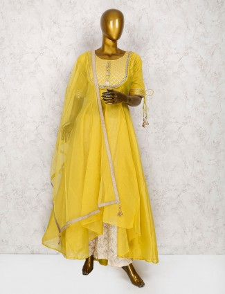 Elegant yellow cotton silk punjabi palazzo suit